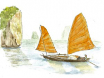 Sampan-on-Halong-Bay