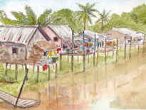Stilted-village-in-flood-season